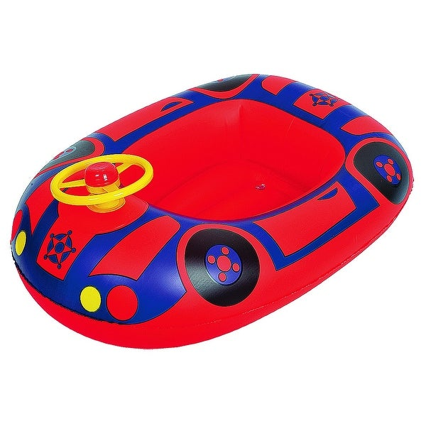 "27"" Red and Blue Children's Car Swimming Pool Inflatable Baby Boat Float"