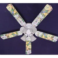 Zootles Baby Jungle Animals Print Blades 52in Ceiling Fan Light Kit - Multi