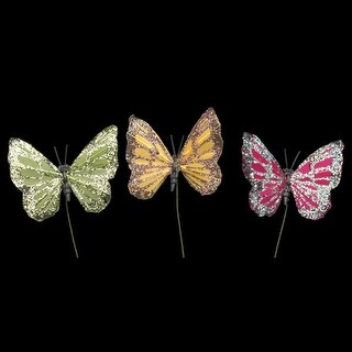 Club Pack of 72 Green, Brown and Pink Night Glitter Butterfly Wire Craft Picks 2""