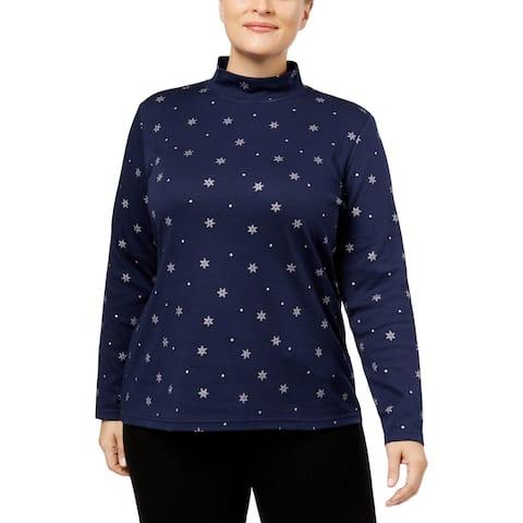 Karen Scott Womens Plus Mock Turtleneck Sweater Printed Long Sleeves