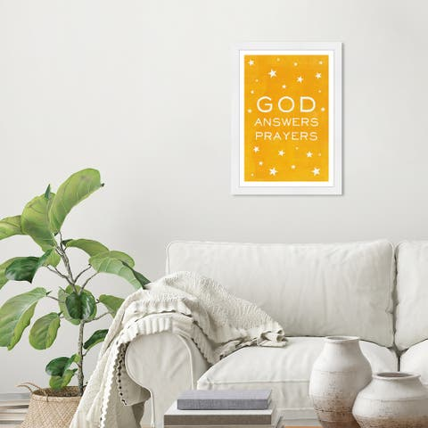 Wynwood Studio 'God Answers Prayers Yellow' Typography and Quotes Yellow Wall Art Framed Print