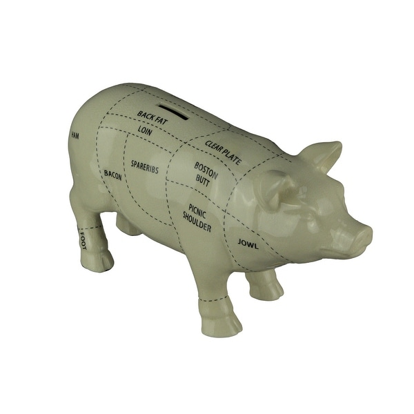 Large White Ceramic Butcher Chart Hog Piggy Bank 13 Inches Long. Opens flyout.