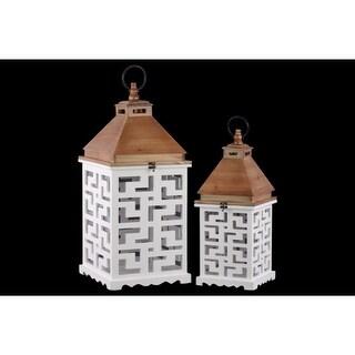 Wood Square Lantern with Lattice Design Body Set of 2 - White - Benzara