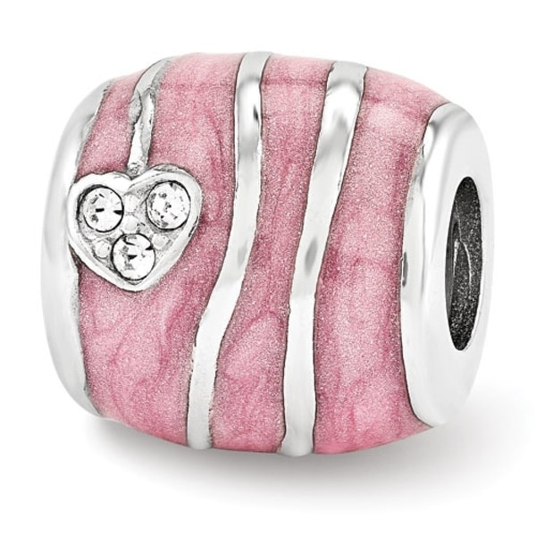 Sterling Silver Reflections Pink Enameled with Swarovski Elements Hearts Bead (4mm Diameter Hole)