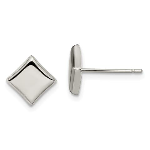 Chisel Titanium High Polished 7mm Square Post Button Earrings