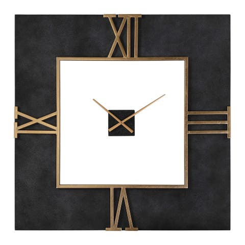 "39.75"" Mudita Textured Black Concrete Square with Antique Gold Leaf Wall Clock - Battery Operated"