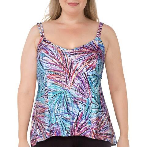Swim Solutions Womens Palmalicious Printed Tankini Swim Top Separates - Multi