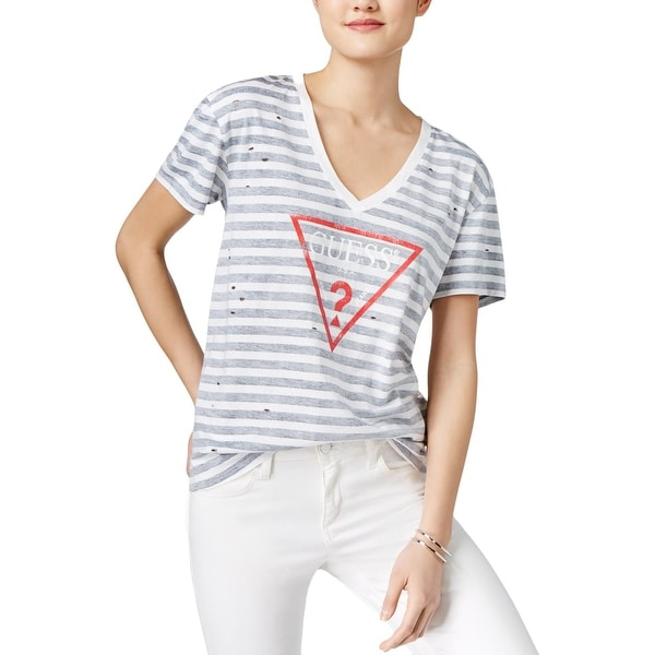 a22f21b00 Shop Guess Womens T-Shirt Striped Graphic Print - Free Shipping On Orders  Over $45 - Overstock - 20543283