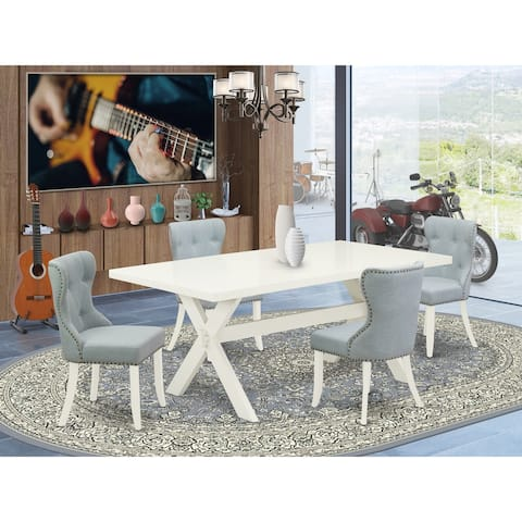 X027SI215-5 5-Piece Dining Set- 4 Kitchen Chairs with Baby Blue Linen Fabric Seat and Button Tufted Chair Back