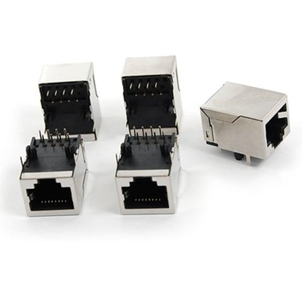 Unique Bargains 5 Pcs 59 8P Fully Shielded Network PCB Jacks Connectors