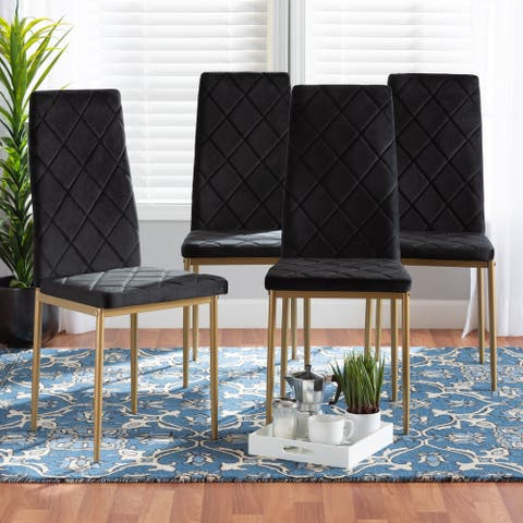Blaise Modern Luxe and Glam 4-Piece Velvet and Metal Dining Chair Set