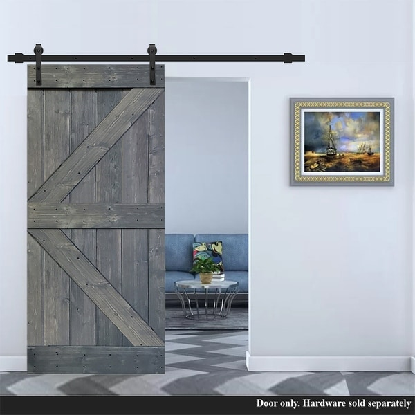 30 in x 84 in Gray Stained K Style Solid Knotty Pine Wood Barn Door