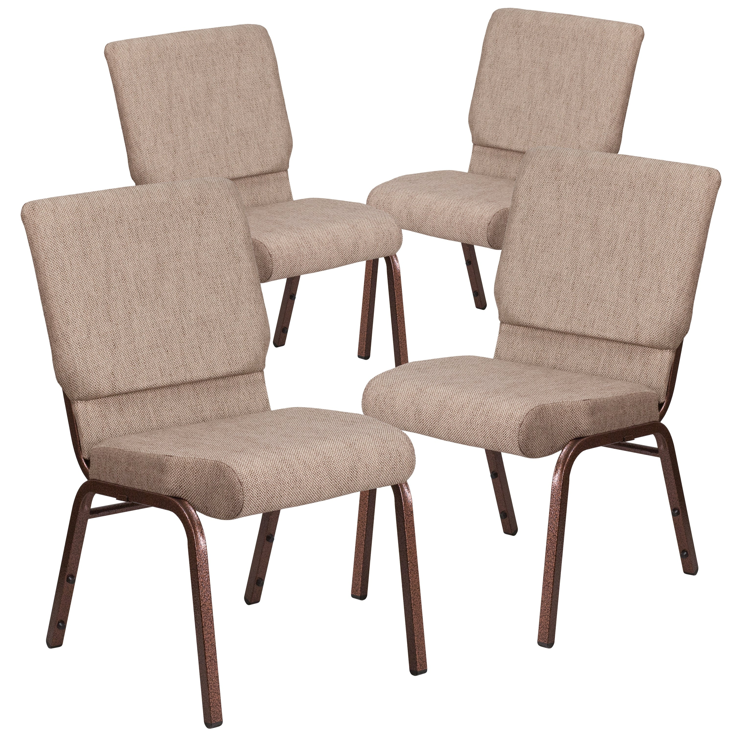 thumbnail 8 - 4-Pack-18-5-034-W-Stacking-Church-Chair-in-Fabric-Copper-Vein