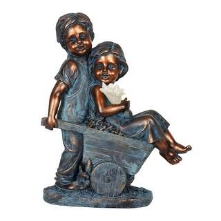 "Faux Bronze Children Solar Statuary - 8.0"" x 5.0"" x 11.5"""