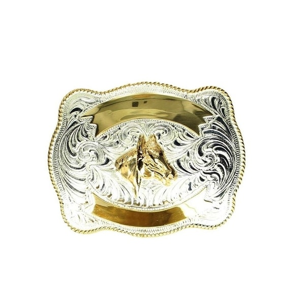 Crumrine Western Belt Buckle Horse Head Silver Guard Gold - 3 x 4