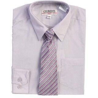 Lilac Button Up Dress Shirt Lilac Striped Tie Set Toddler Boys 2T-4T