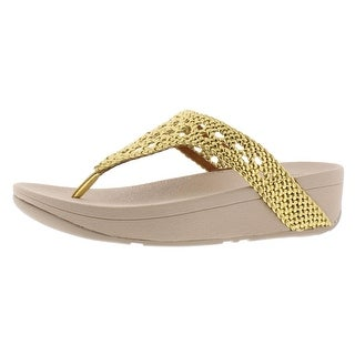 Link to Fitflop Women's Lottie Wicker Leather Microwobbleboard Wedge Thong Sandal Similar Items in Women's Shoes