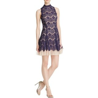 Aqua Womens Cocktail Dress Lace Mock Neck