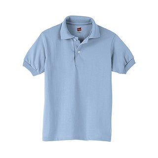 Hanes Kids' Cotton-Blend EcoSmart® Jersey Polo - Size - XS - Color - Light Blue