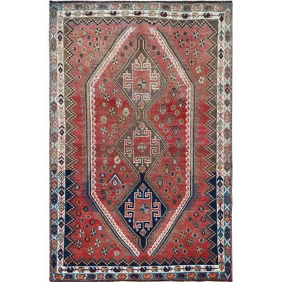 """Shahbanu Rugs Bohemian Red Old Persian Shiraz Cropped Down Geometric Design Hand Knotted Clean Oriental Rug (4'5"""" x 6'9"""")"""