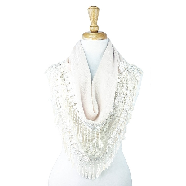 Women's Fancy Lace Fringes Triangle Scarf - White