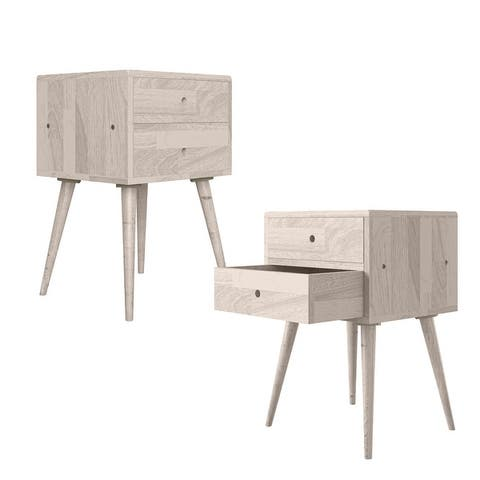 Carson Carrington Shorewood Mid Century Modern Square Wood End Tables with Drawers (Set of 2)