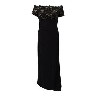 Jessica Howard Women's Off-The-Shoulder Gown - Black/Tan