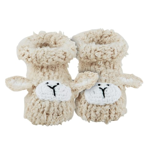 Off White Lamb Knitted Booties for 0-3 Months - One Size