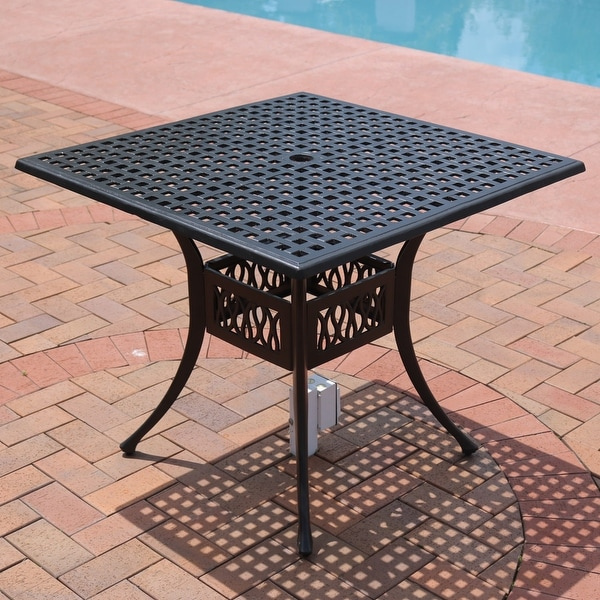 Sunnydaze Black Cast Aluminum Outdoor Square Patio Dining Table - 35-Inch