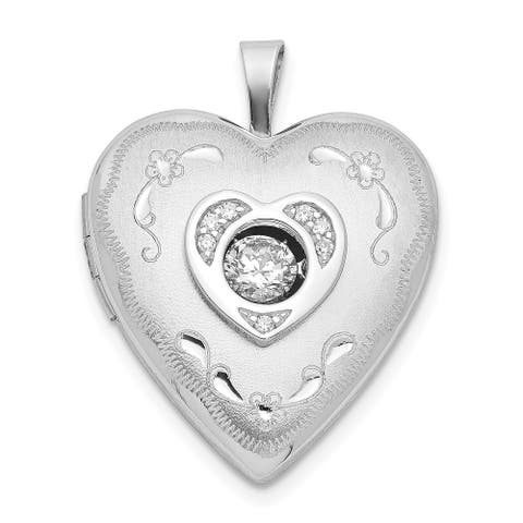 Sterling Silver 20mm Vibrant Swarovski Crystal Brushed and Polished Heart Locket with 18-inch Cable Chain By Versil