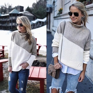 Womens Loose Stitching Knit Shirt Sweater Top Pullover