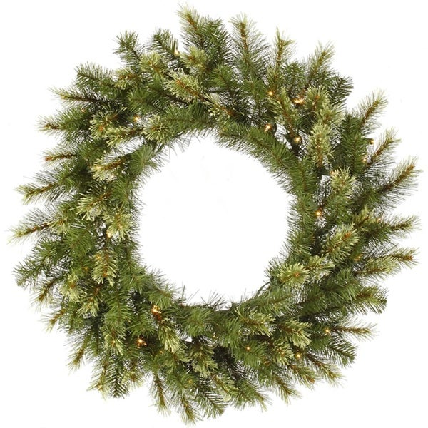 """30"""" Pre-Lit Jack Pine Artificial Christmas Wreath - Warm Clear LED Lights - green"""