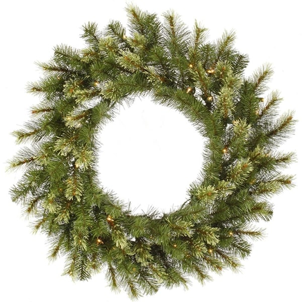 "36"" Pre-Lit Jack Pine Artificial Christmas Wreath - Clear Lights"