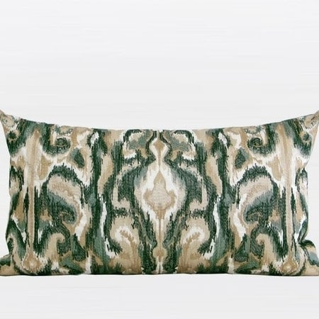G Home Collection Luxury Green European Classical Pattern Embroidered Pillow 12X22 (b-polyester insert)