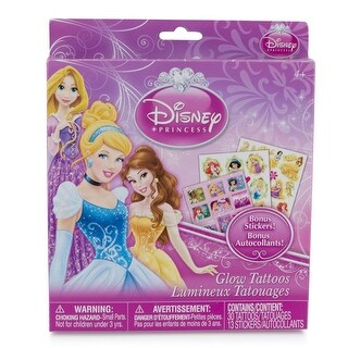 Disney Princess Temporary Glow Tattoo Set 43 Piece w/ Bonus Stickers (Ages 4+) - Pink