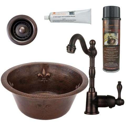 Premier Copper Products BSP4_BR16FDB2-B Bar Sink, Faucet and Accessories Package