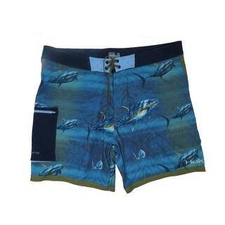 Huk Men's KC Scott Tuna Baitball Size 34 Navy Board Shorts