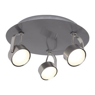 """Bazz Lighting C14181 Focus 3-Light 10"""" Wide Integrated LED Flush Mount Ceiling Fixture with Chrome Metal Shade"""