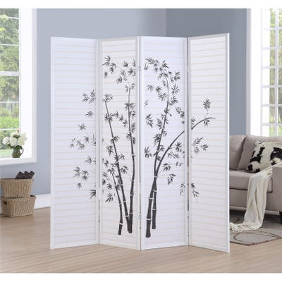 Bamboo Print 4-Panel Framed Room Screen/Divider