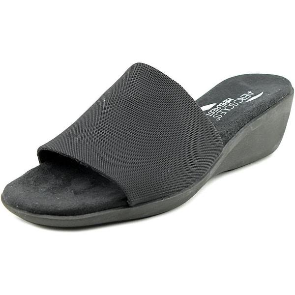 Aerosoles Badminton Women Open Toe Canvas Black Slides Sandal