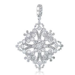 Bling Jewelry Rhodium Plated CZ Filigree Vintage Style Snowflake Pendant