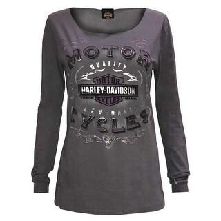 Harley-Davidson Women's Foil Rebel Cruiser Open Neck Long Sleeve Shirt 5V32-HF34