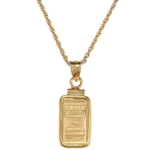 American Coin Treasures 1-gram Gold Ingot Pendant Necklace - Yellow
