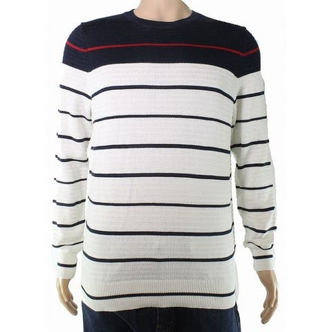 Nautica Mens Sweater Blue White Size Small S Striped Knitted Crewneck