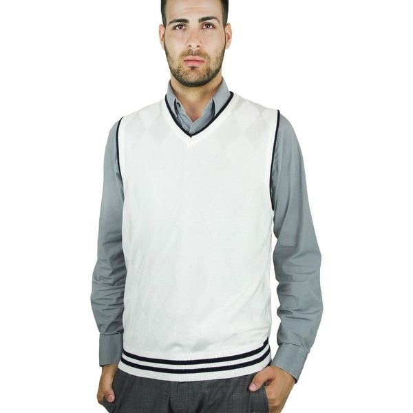 52edea525 Shop Men s Contrast Argyle Sweater Vest (SV-268) - Free Shipping On ...