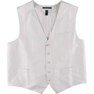 Perry Ellis Mens Big & Tall Linen Blend Twill Suit Vest - 2xlt