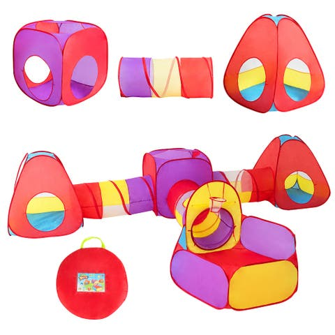 Costway 7pc Kids Ball Pit Play Tents & Tunnels Pop Up Baby Toy Gifts - Red, Yellow, Purple, Blue