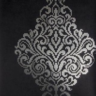 Brewster 2542-20747 Lux Charcoal Foil Damask Wallpaper