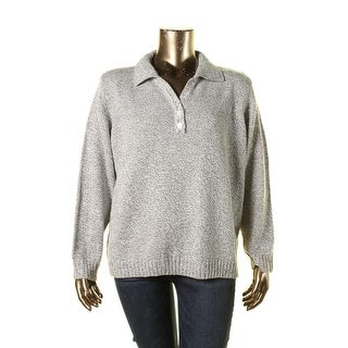 Karen Scott Womens Plus Collared Knit Henley Sweater