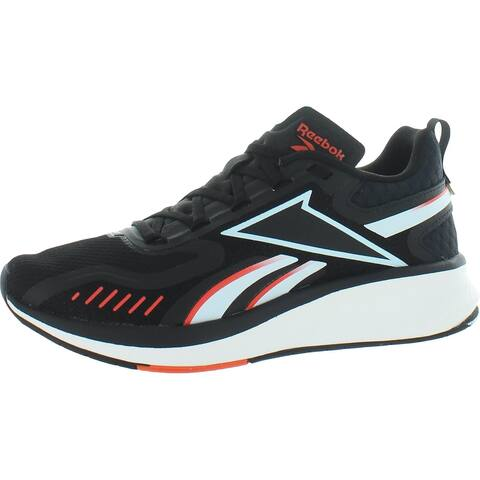 Reebok Mens Fusium Run 20 Running Shoes Fitness Performance - Black/Glass Blue/Vivid Orange - 7 Medium (D)